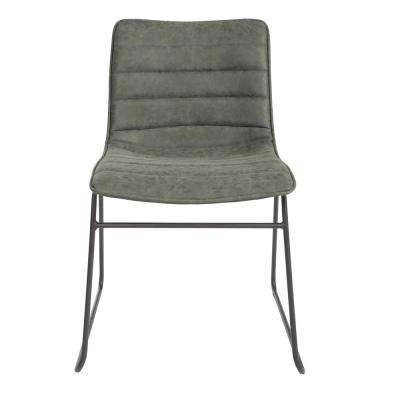 Halo Stacking Olive Faux Leather Chair with Black Base 2-Pack