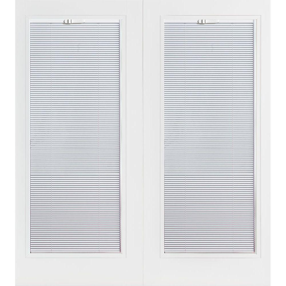 Primed Prehung Right Hand Inswing Mini Blind Steel Patio Door With  Brickmold 89906   The Home Depot