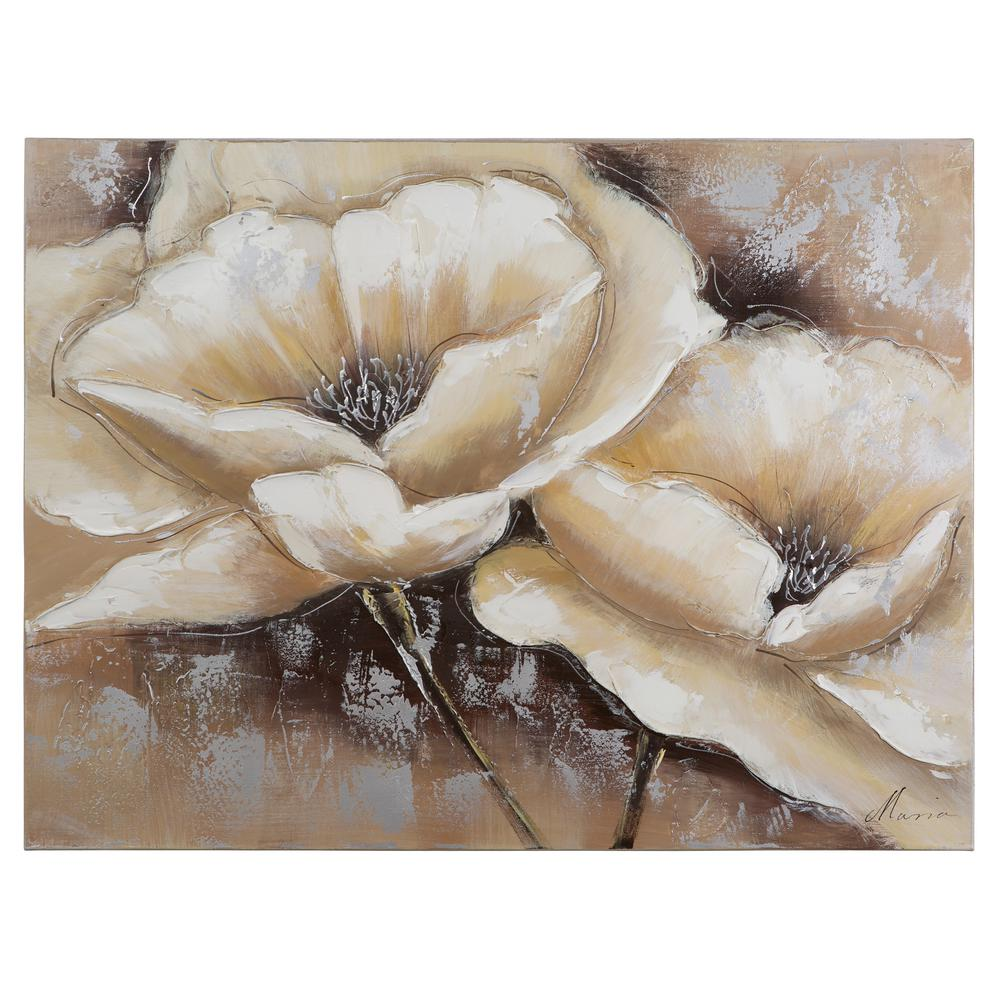 """Yosemite Home Decor 24 in. x 31 in. """"Full Bloom I"""" Hand Painted Canvas Wall Art"""