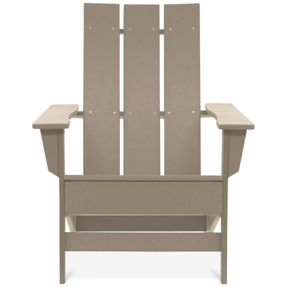 Aria Weathered Wood Recycled Plastic Modern Adirondack Chair
