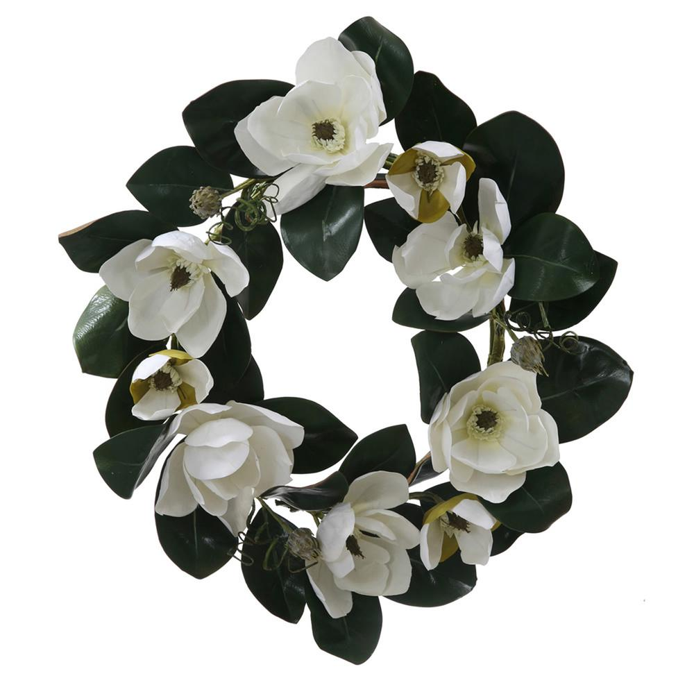 Vickerman 26 in. Unlit White Magnolia Flower and Leaves Artificial Silk Floral Wreath