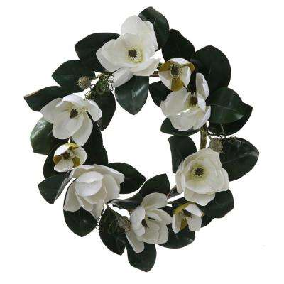 26 in. Unlit White Magnolia Flower and Leaves Artificial Silk Floral Wreath