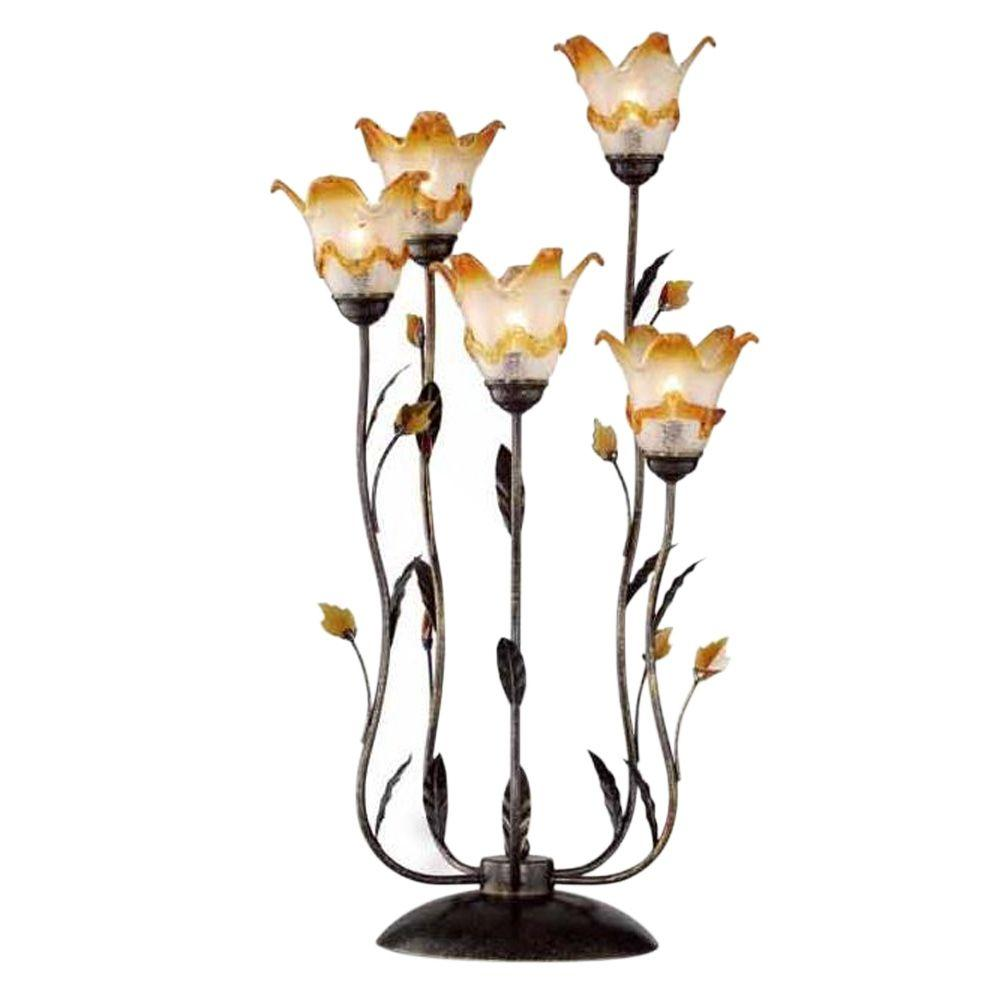 OK LIGHTING 33 in Bronze Windance Floral Table Lamp