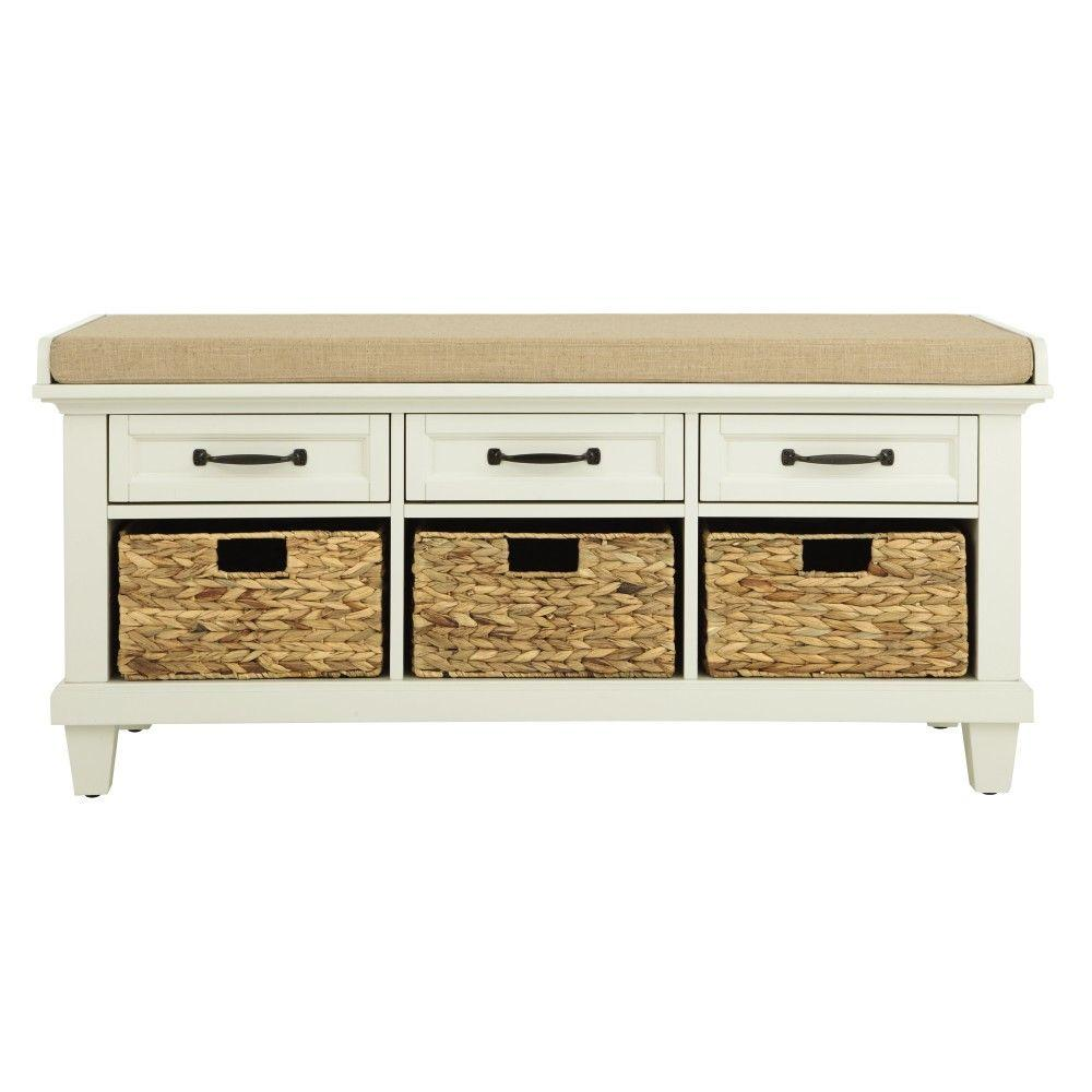 Home decorators collection martin ivory shoe storage bench for Home decorators bench