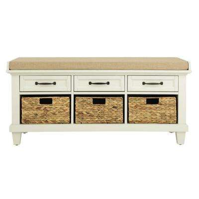 "Martin Ivory 46.5"" Shoe Storage Bench"
