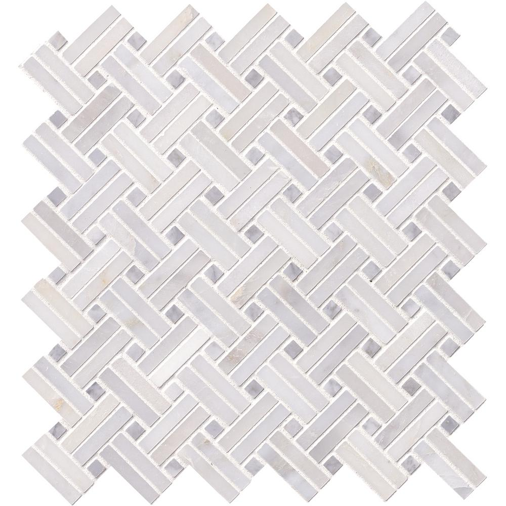 MSI Greecian White Double Basketweave 12 in. x 12 in. x 10 mm Polished Marble Mesh-Mounted Mosaic Tile