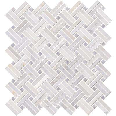 Greecian White Double Basket Weave 12 in. x 12 in. x 10mm Polished Marble Mesh-Mounted Mosaic Tile (10 sq. ft. / case)