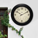 15-1/2 in. In/Outdoor Black Wall Clock with Thermometer and Hygrometer