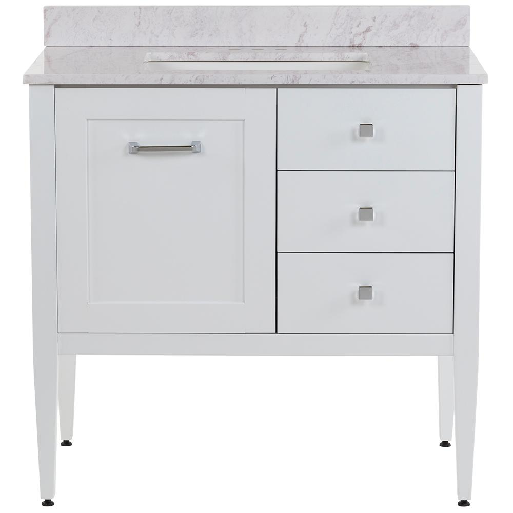 MOEN Hensley 37 in. W x 22 in. D Bath Vanity in White with Stone Effects Vanity Top in Lunar with White Basin