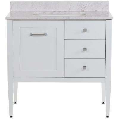 Hensley 37 in. W x 22 in. D Bath Vanity in White with Stone Effects Vanity Top in Lunar with White Sink