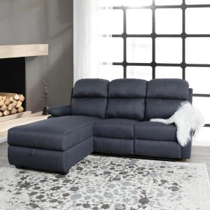 Terrific Ottomanson Recliner L Shaped Navy Blue Corner Sectional Sofa Ibusinesslaw Wood Chair Design Ideas Ibusinesslaworg