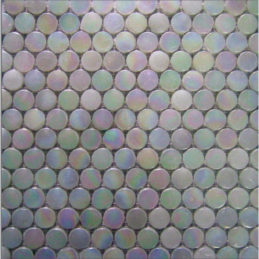 Epoch Architectural Surfaces Aspen-1470 Penny Round Milk Glass Mesh Mounted Floor and Wall Tile - 3 in. x 3 in. Tile Sample