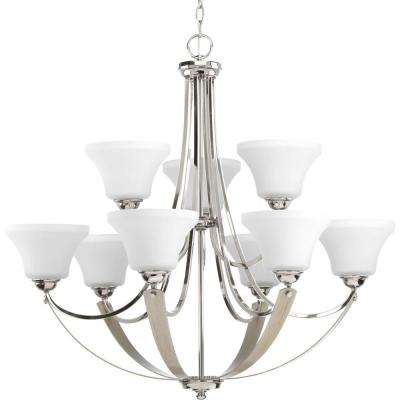 Noma Collection 9-light Polished Nickel Chandelier with Etched Glass Shade