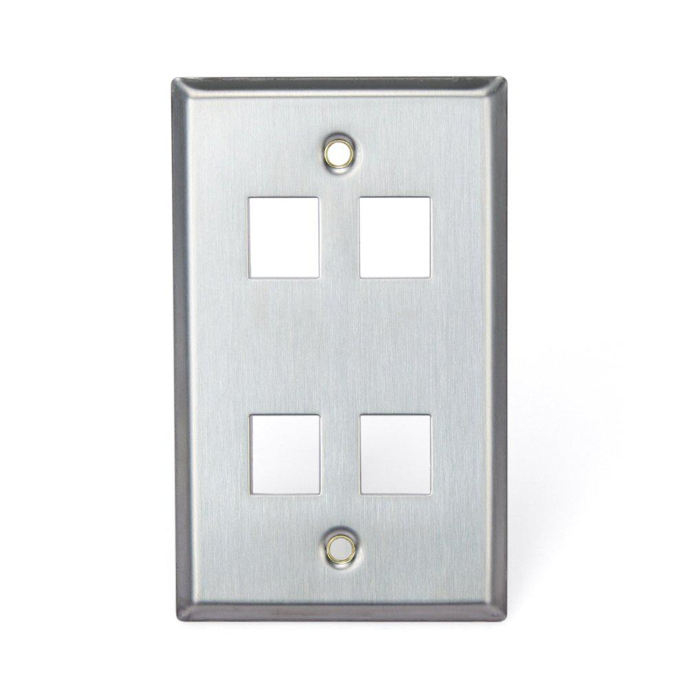1-Gang QuickPort Standard Size 4-Port Wallplate, Stainless Steel