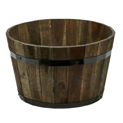 18 in. Dia x 11 in. H Brown Wood Bucket Barrel