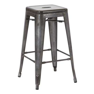 Bristow 26 in. Matte Galvanized Antique Metal Barstools in 2-Pack