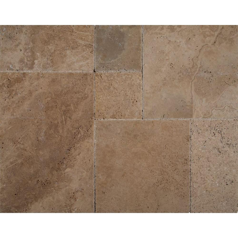 Msi Walnut Onyx Pattern Honed Unfilled Chipped Travertine Floor And