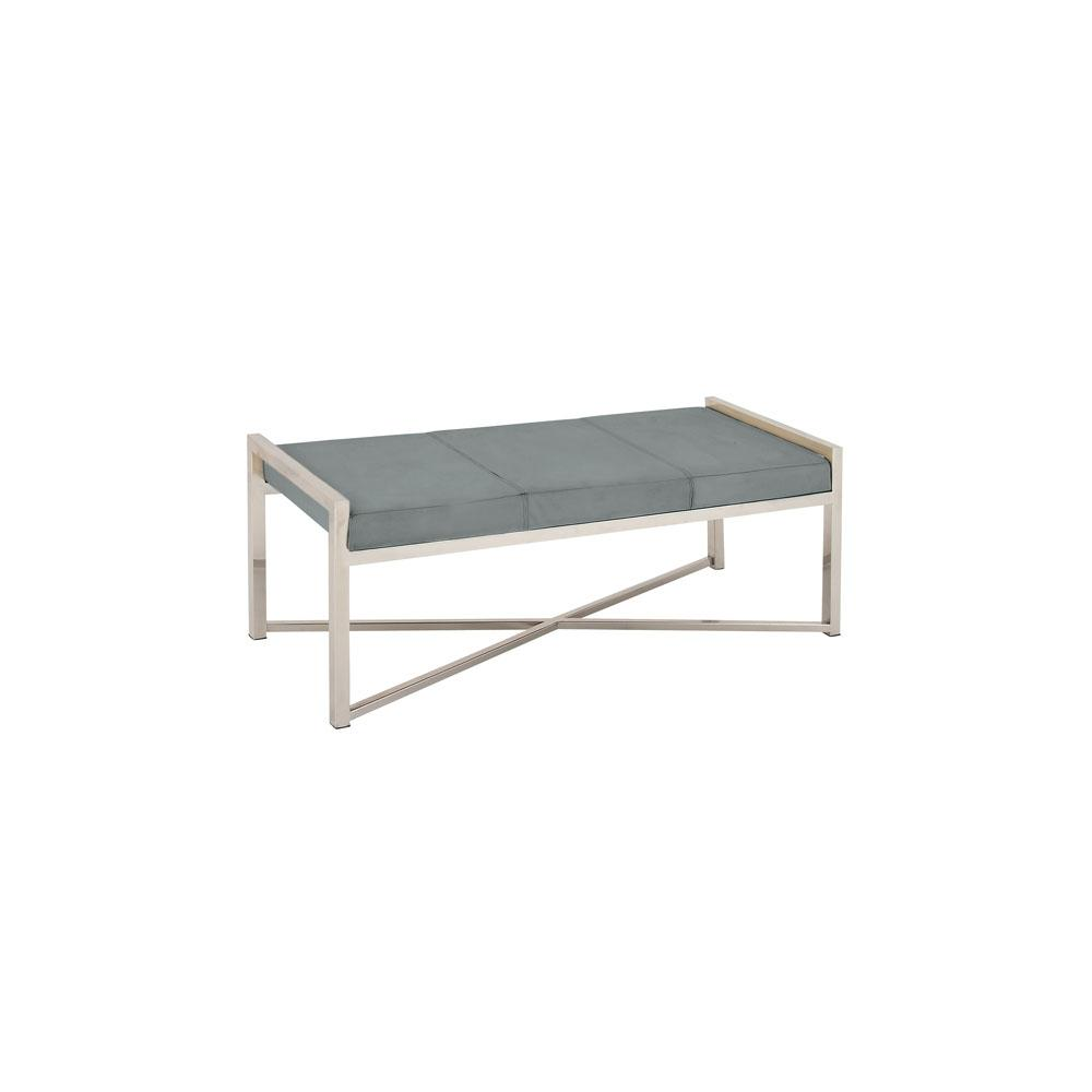 Silver Stainless Steel Bench With Gray Leather Cushioned Seat