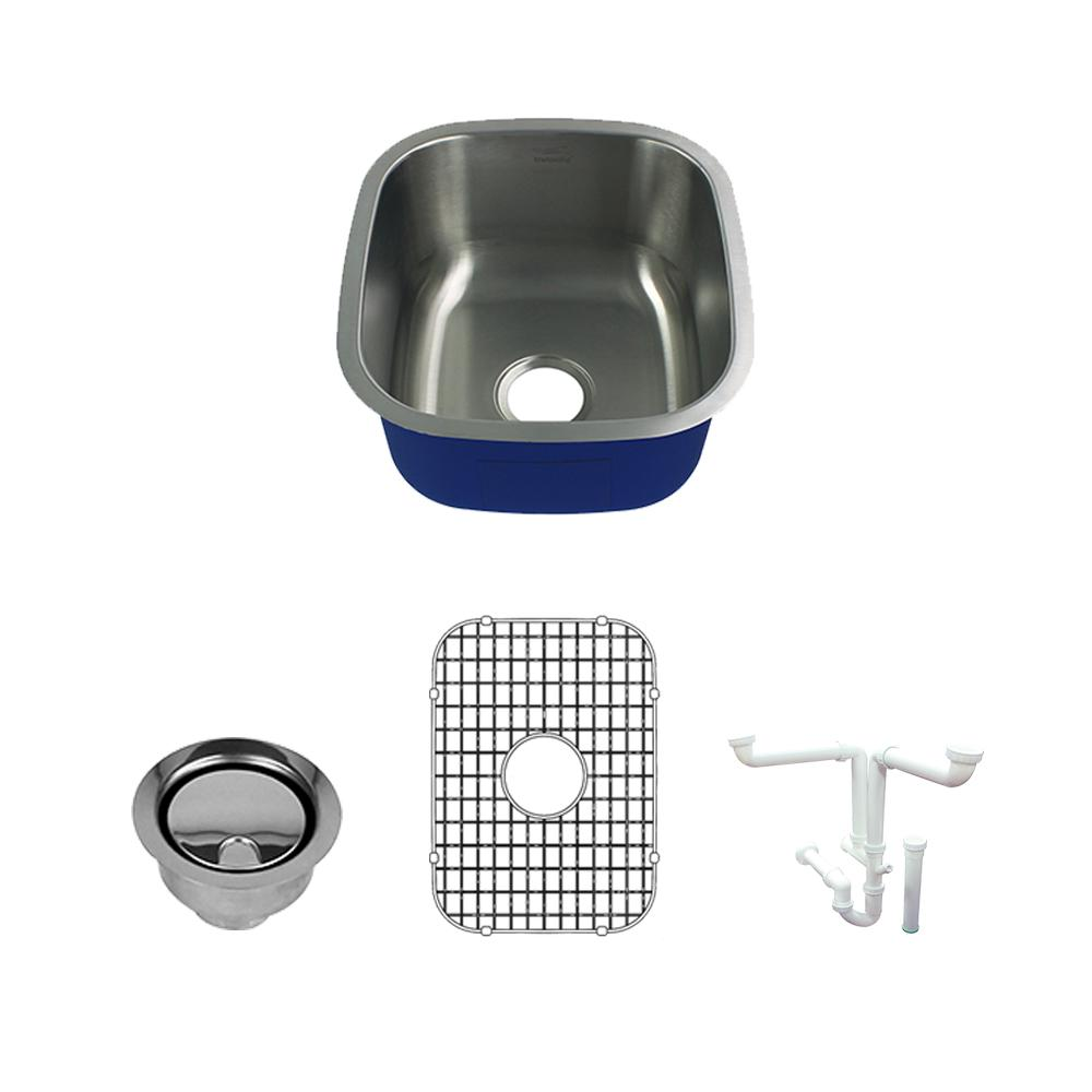 Meridian All-In-One Undermount Stainless Steel 16.5 in. Single Bowl Kitchen Sink