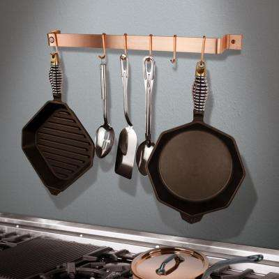 Handcrafted 24 in. Brushed Copper Easy Mount Wall Rack with 6-Hooks