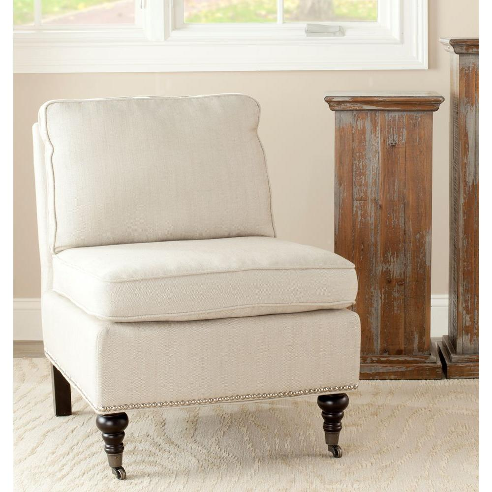 Beau Safavieh Randy Off White Linen Slipper Chair