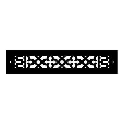 Scroll Series 14 in. x 2-1/4 in. Cast Iron Grille, Black with Mounting Holes