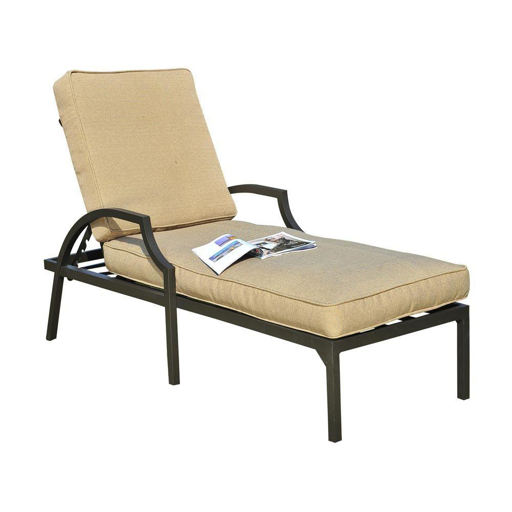 Sunjoy pine ridge patio lounge chair with beige cushion l for Chaise longue jardin brico depot