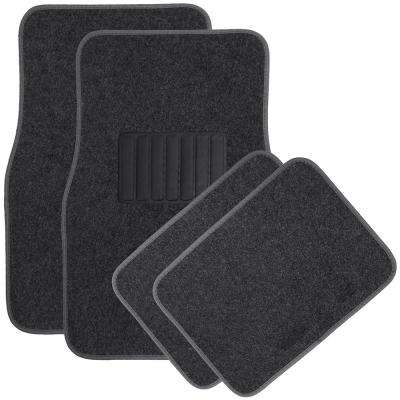 Solid Charcoal 4-Piece Carpet Floor Mat - Universal Fit