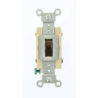 20 Amp Commercial Grade 4-Way Back Wired Toggle Switch, Brown