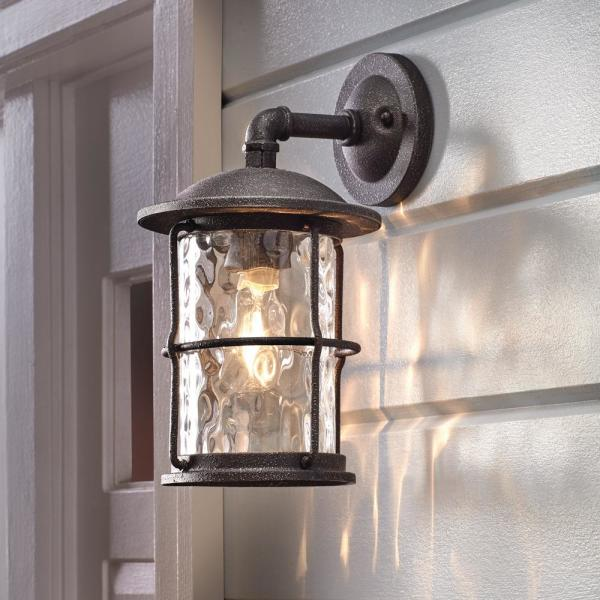 Home Decorators Collection 1 Light Gilded Iron 13 5 In Outdoor Wall Lantern Sconce 7956hdcgidi The Home Depot