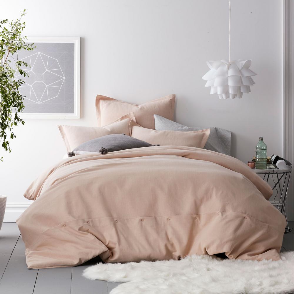 Asher 3-Piece Blush Solid Cotton Queen Duvet Cover Set