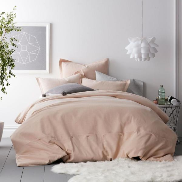 Asher 2-Piece Blush Solid Cotton Twin Duvet Cover Set