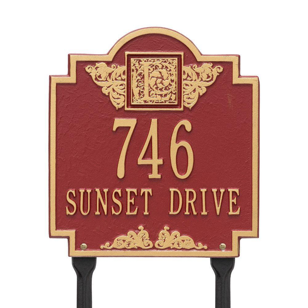 Monogram Standard Lawn Square Red/Gold 2-Line Address Plaque