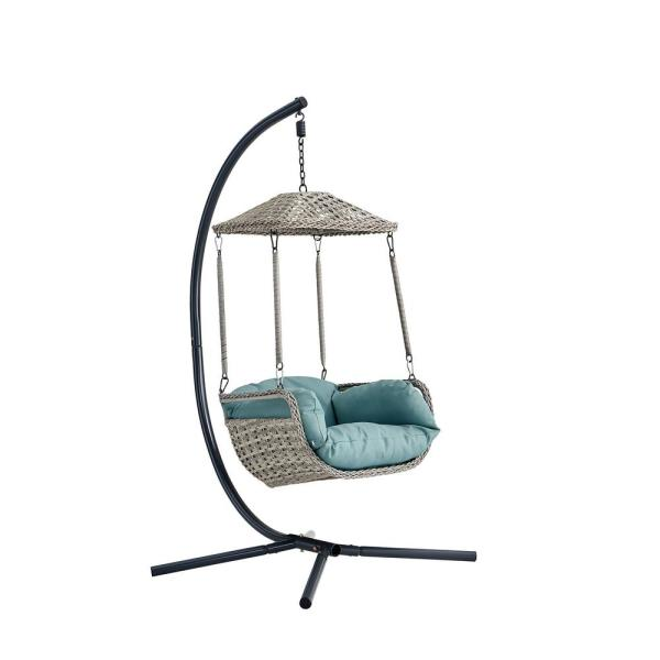 Outdoor Hanging Swing Lounge Chair in Gray with Blue Soft Cushion and Armrest for Outdoor / Indoor