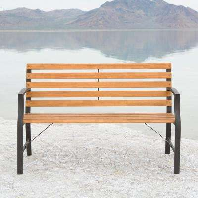 48 in. Brown Metal and Wood Outdoor Bench