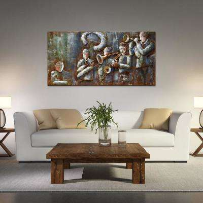 "56 in. x 28 in. ""Jazz Band"" Mixed Media Iron Hand Painted Dimensional Wall Art"