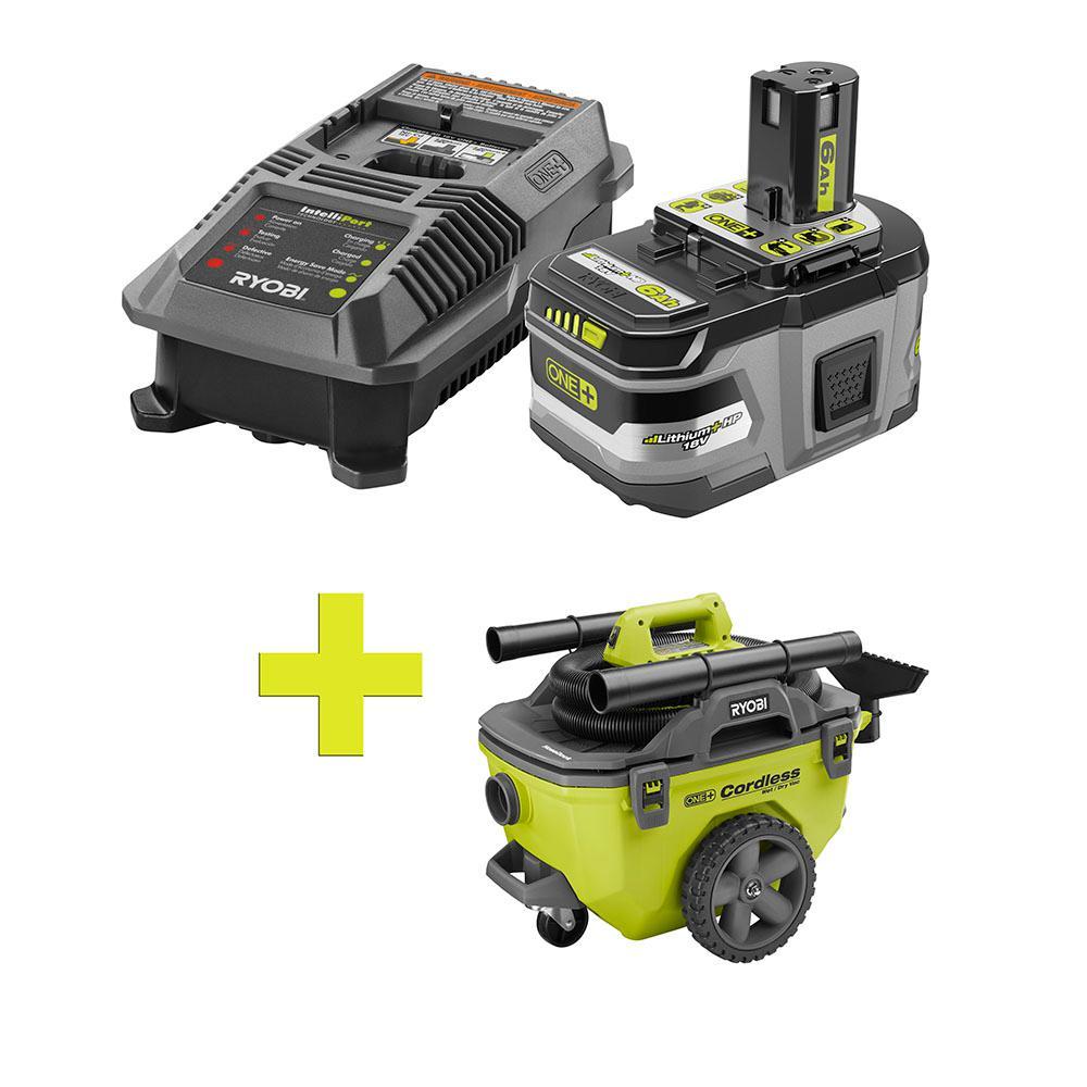 18-Volt ONE+ Lithium-Ion LITHIUM+ HP 6.0 Ah Starter Kit w/ Bonus ONE+ 6 Gal. Cordless Wet/Dry Vacuum