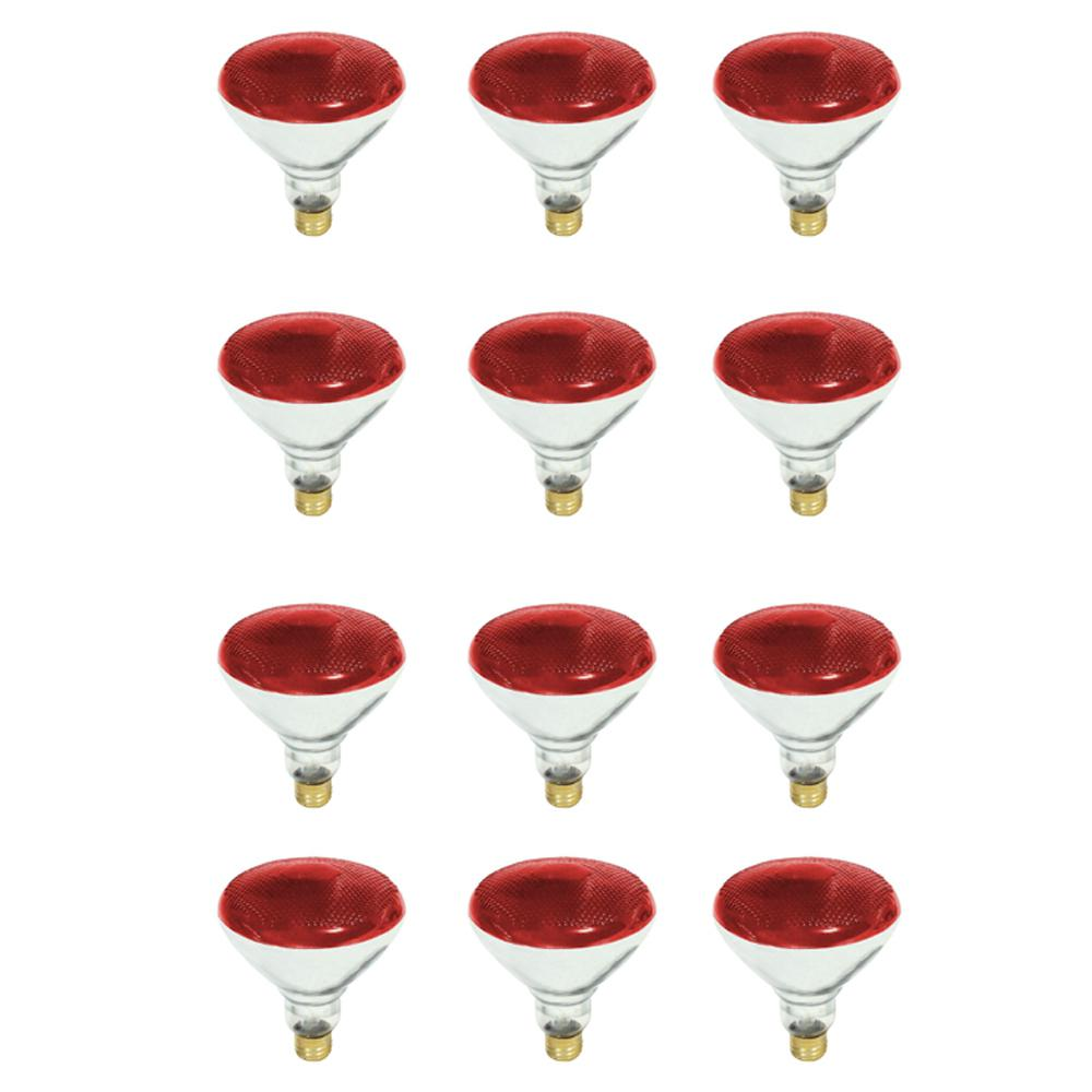Feit Electric 100-Watt PAR38 Dimmable Red Color Incandescent Light Bulb (12-Pack)