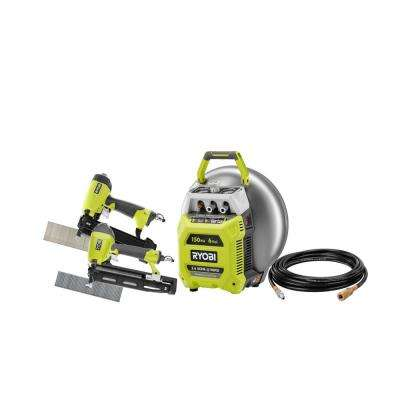 6 Gal. Electric Pancake Air Compressor w/ 18-Gauge 2-1/8 in. Brad Nailer, 16-Gauge 2-1/2 in. Finish Nailer, 25 ft. Hose