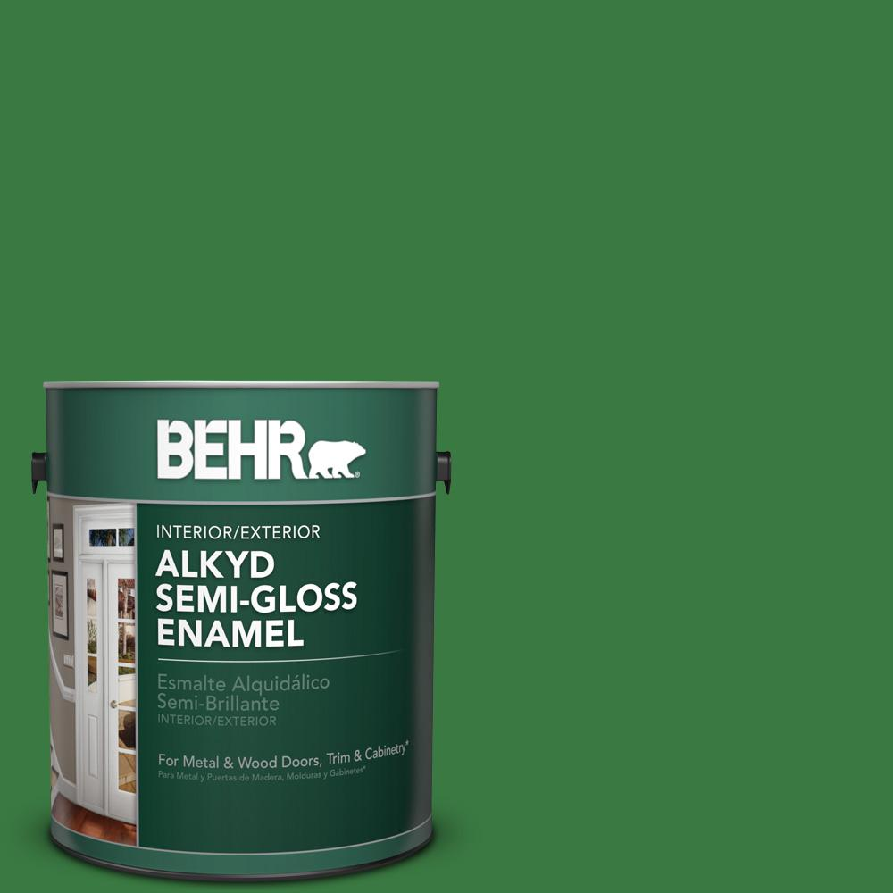 1 gal. #M390-7 Hills of Ireland Semi-Gloss Enamel Alkyd Interior/Exterior Paint