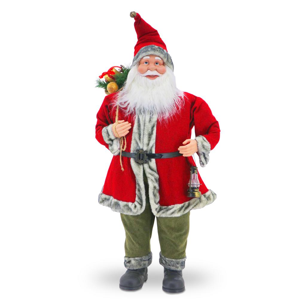 National Tree Company 36 in. Santa w/ Red Jacket Santa features traditional red coat and hat with a tinted fur trim. But as a non-traditional twist, is wearing contrasting green pants. Over his shoulder he holds his sack full of gifts and decorations in his other hand is a small lantern.