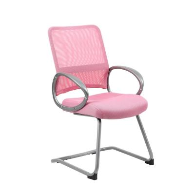 Pink Mesh Back and Seat Pewter Arms and Frame Floor Glides Guest Chair
