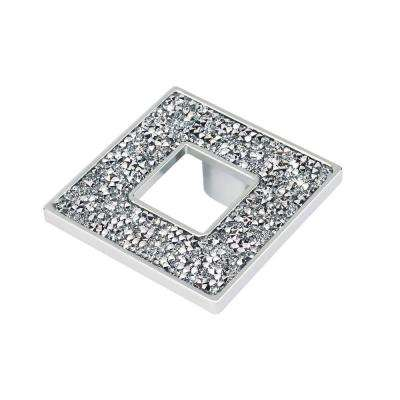 Swarovski Crystal Collection 2.55 in. Chrome and Crystal Square Cabinet Knob