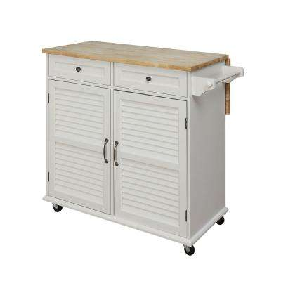 Portland Polar White Kitchen Cart