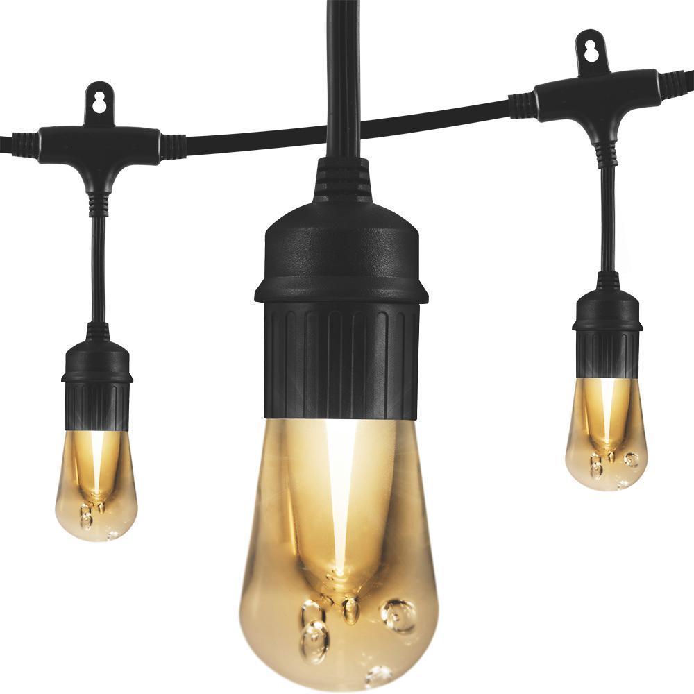 12-Bulb 24 ft. Vintage Cafe Integrated LED String Lights, Black