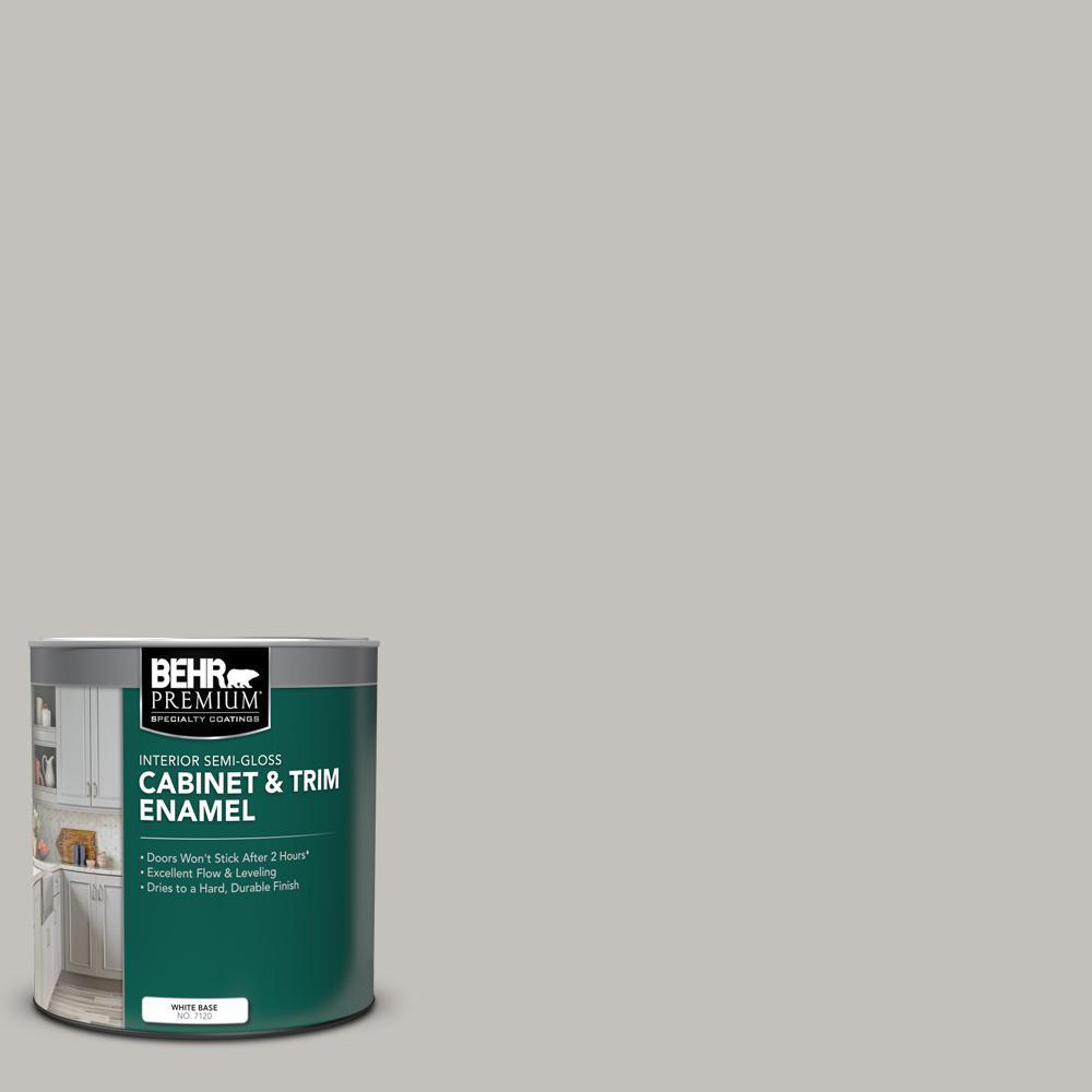 Behr Premium 1 Qt Ppu18 10 Natural Gray Semi Gloss Enamel Interior Cabinet And Trim Paint 712004 The Home Depot