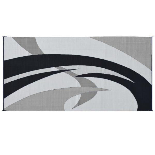 Outdoor Patio Deck RV Mat Reversible Rug 9 x 18 ft Durable Foldable Blue Swirls