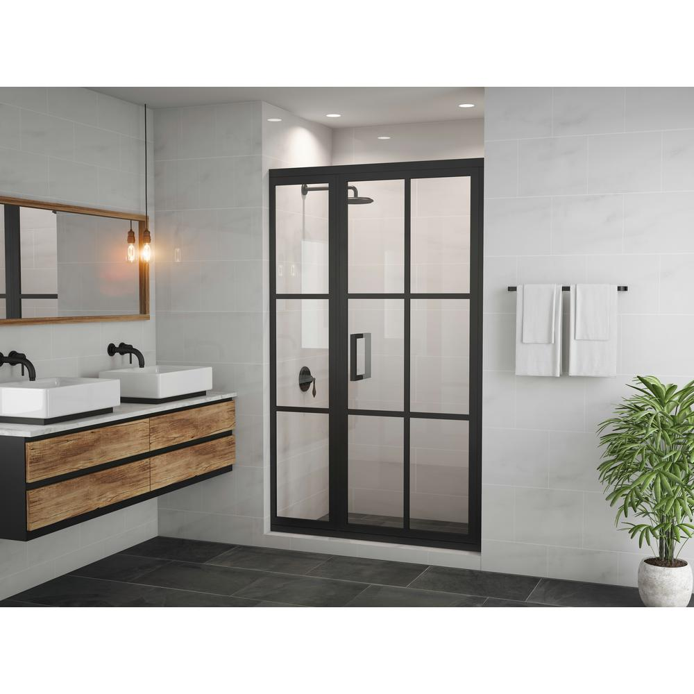 Coastal Shower Doors Gridscape Series 45.75 in. x 76 in. Framed Hinge Shower Door and Inline Panel in Black and Clear Glass with Handle
