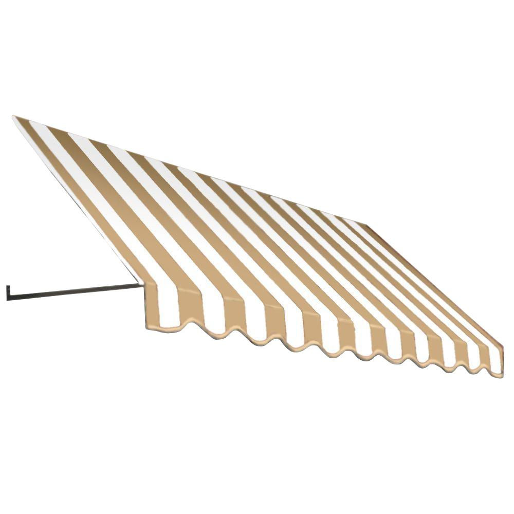 AWNTECH 14 ft. Dallas Retro Window/Entry Awning (16 in. H x 30 in. D) in Linen/White Stripe