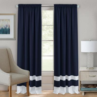 Darcy 52 in. W x 63 in. L Polyester Light Filtering Window Panel in Navy/White